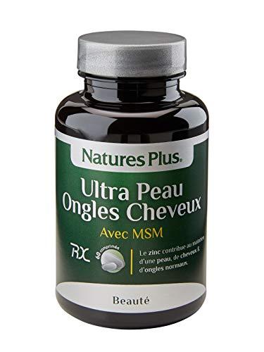 NaturesPlus - Ultra Peau Ongles Cheveux avec MSM 60 comprimés - 11 principes actifs - Améliore l'état de la peau, des cheveux et ongles - Antioxydant - Conçu et fabriqué par NaturesPlus