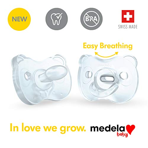 Medela Baby Soft Silicone Pacifier for 6-18 Months, Bpa Free, Lightweight & Orthodontic, Designed to Support Baby's Natural Suckling, Baby Pacifiers - 2 Pack