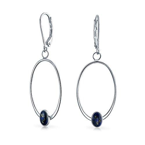 Boho Mince Simple Géométrique Pendantes Arrière Bleu Nuit Lapis-Lazuli Créoles Pour Femme Ados Argent