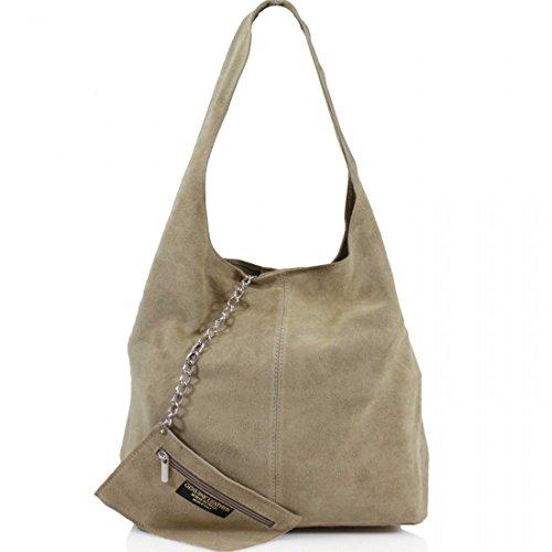 AMBRA Moda Damen Ledertasche Shopper Wildleder Handtasche Schultertasche Beuteltasche WL818 (Beige)