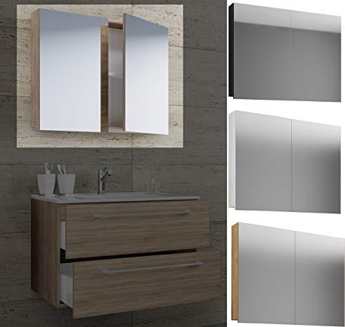 VCM Spiegelschrank Badspiegel Spiegel Badezimmer Hängespiegel VCB 1-80 cm Ohne LED-Beleuchtung: Sonoma-Eiche