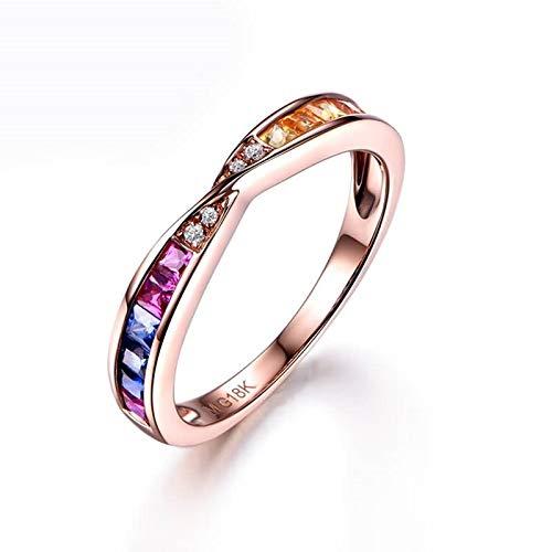 Daesar 18 Karat Rotgold Ringe Damen Regenbogen Ring mit 0.61ct Bunten Saphire Verlobungsring Rosegold Ring Diamant Echt Gr. 54 (17.2)