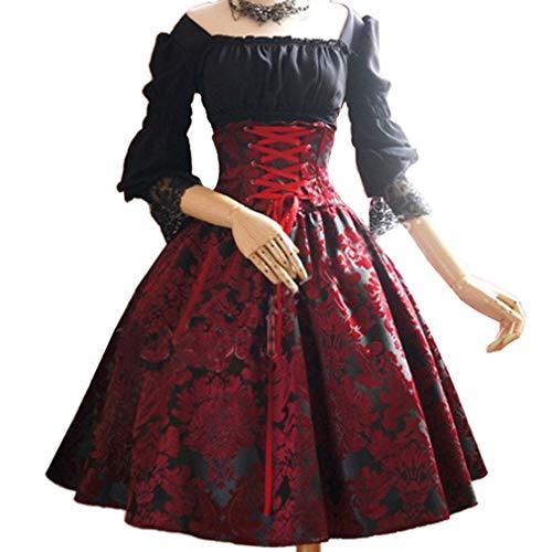 Donne Manica 3/4 Abiti Medievale - Vintage Halloween Festa Cosplay Costume con Maniche Svasate retrò Rinascimentale Vestito Abito Costume Adulto Taglie Forti Cinque Colori