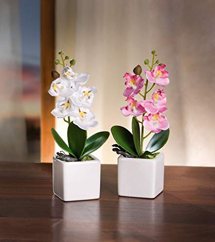 Serie de 2 macetas de orquídeas, planta sintética bien imitada, moldeable gracias al alambre de hierro, maceta de porcelana blanca