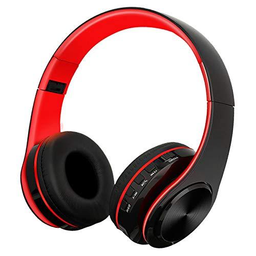 SFBBBO Auriculares Auriculares Bluetooth Auriculares estéreo inalámbricos Auriculares Bajos Auriculares Ajustables con micrófono/Tarjeta TF RojoBlack