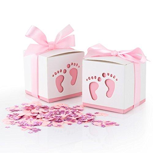 QILICZ 50 STK. Gastgeschenke Baby Taufe Süßigkeit Flaschen Candy Geschenk Box Baby Shower Babydusche Geschenk Box + Konfetti Füßchen Tisch Dekoration für Hochzeit Taufe Geburtstag pink