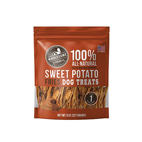 Wholesome Pride Sweet Potato Fries Dog Treats, 8 oz - All Natural Healthy - Vegan, Gluten and Grain-Free Dog Snacks - Made in USA