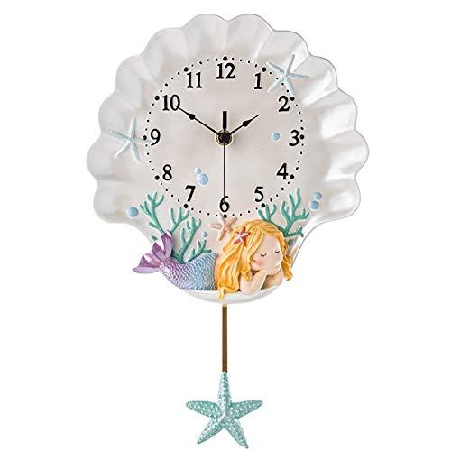 dingtian Reloj de Pared Reloj De Pared De Sirena Reloj De Péndulo del Mundo Marino Hada...