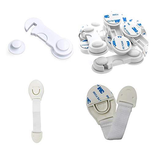 Kindersicherung Baby Schranksicherung Starker Kleber Baby Türsicherung ohne Bohren Weiß Schubladensicherung Für Baby Proofing Küchenschränke, Schubladen 20 Stück