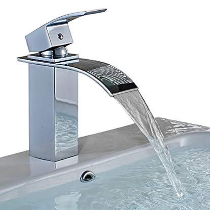 Foto di BONADE Rubinetto Miscelatore Monocomando a Cascata per Lavabo, Rubinetto lavabo bagno in Ottone cromato, senza Piletta di scarico inclusa
