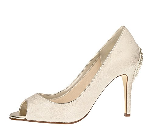 Rainbow Club Brautschuhe Natala - Pumps Stiletto Peep Toe Champagner - High Heels - Gr 41 EU 8 UK