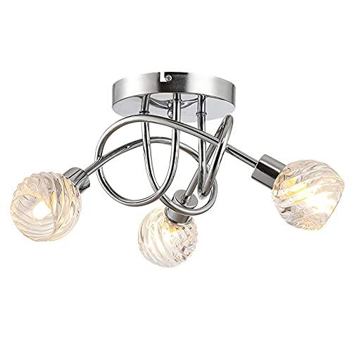 BABYCOW Candelabro Iron Art, lámpara de Techo de 3 Luces, lámpara Molecular nórdica Simple de luz, lámpara de Cristal de 7 W, Bombilla G9, luz de Ocio para Sala de Estar, Comedor y Dormitorio (110 V