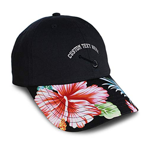 Custom Soft Hawaiian Baseball Cap Music Instrument Banjo Embroidery Cotton Flower Dad Hats for Men & Women Strap Closure Black Personalized Text Here