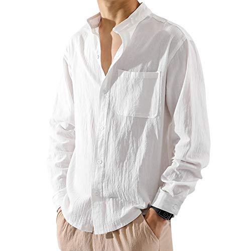 I3CKIZCE Camicia Bluse Maglietta Top Uomo a Maniche Lunghe Tinta Unita Bottoni Scollo Alto Elegante T-Shirt Casual Quotidiano Chic Moda Vintage (Bianco, L)