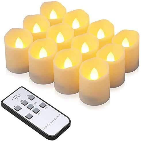 Velas LED, synmixx 12 Ledes Sin llama, Velas Parpadeantes con Mando a...