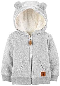 Simple Joys by Carter's suéter con capucha para niños con forro de sherpa ,Gris ,18 Months