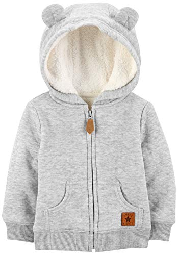 Simple Joys by Carter's Baby Neutral Hooded Sweater Jacket with Sherpa Lining, Gray, 6-9 Months