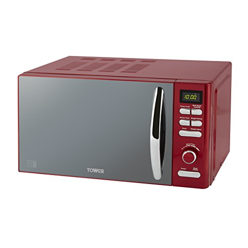 Tower T24019R Infinity Digital Solo Microwave with 6 Power Levels, 8 Auto Cook Options, 60 Minute Timer, Defrost Function, Stylish Mirrored Door, 800 W, 20 Litre, Red