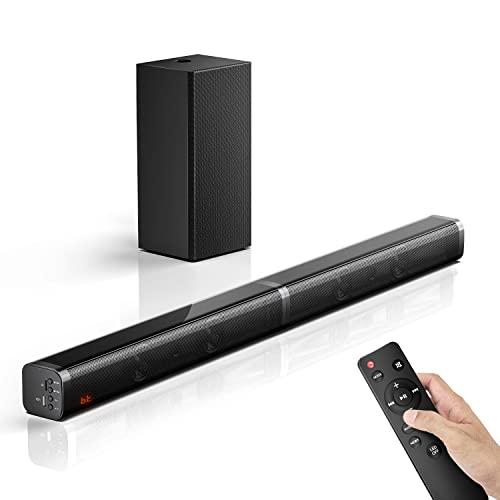 Barra de Sonido para TV con Subwoofer 2.1 Canales, Potencia 100W 110 dB, 5 Modos de Sonido, Bluetooth 5.0, Óptico, AUX, USB, para Cine en Casa Inalámbrico, Negro