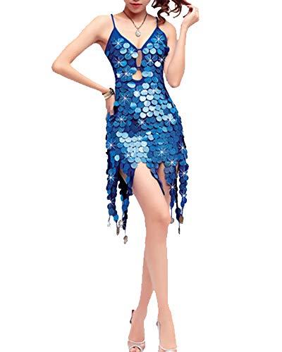 Mengmiao Damen Kleiden Pailletten Tanzen Latein Zumba Ärmellos Rückenfrei Kleid Blau2 One Size