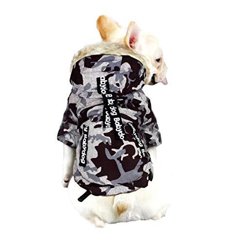 Babydog Abrigo Chaleco para Perro con Capucha, Forro Polar y Mangas, Cierre Corchetes, Modelo Camuflaje Militar (L, Marron Gris)