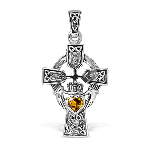 WithLoveSilver Sterling Silver 925 Celtic Cross and Claddagh Natural Citrine Heart Pendant