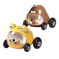 動物の赤ちゃんのおもちゃの車セット-教育玩具摩擦パワーカー子供の摩擦車男の子と女の子動物の車初期教育赤ちゃんプルバック車2パック