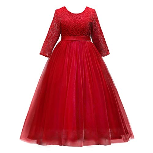 Flower Girls 3/4 Sleeve Lace Tulle Pageant Prom Ball Gown Kid Floor Length Bridesmaid Embroidered Wedding Party First Communion Princess Dress Puffy Dance Evening Long Maxi Dress Z Red