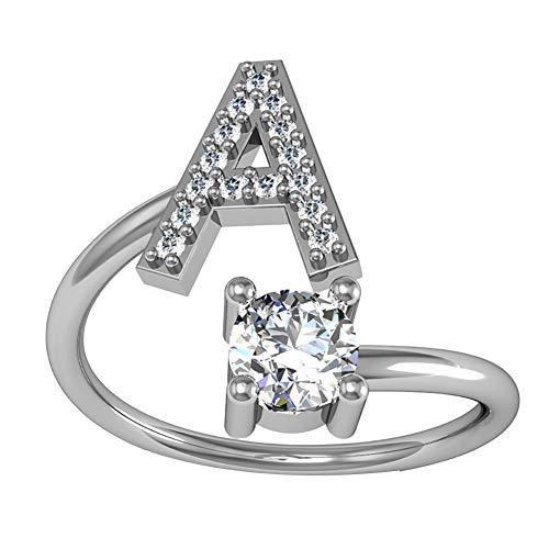 WonCacrostrans - Anello da donna con lettera dell'alfabeto, con strass, regolabile, 1 pezzo e Rame, 0, colore: Silver a, cod. 8G7P6W0418FUW05P3Y0AXUBR9HP