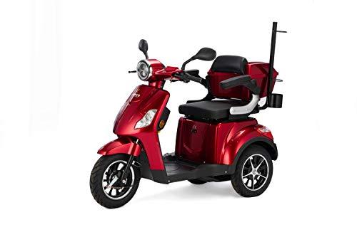 VELECO Scooter Eléctrico de 3 Ruedas Para Personas Mayores Minusvalido DRACO 25km/h (Rojo)