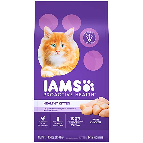 IAMS PROACTIVE HEALTH HEALTHY KITTEN Dry Cat Food with Fish Oil and Chicken, 3.5 lb. Bag
