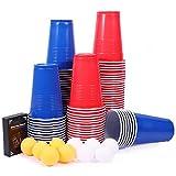 Beer Pong, joylink Beer Pong Tazas de Fiesta Beer Pong Juego de Beber Juego para Beber Cerveza 100 Vaso de Plástico Reutilizable Vasos Beer Pong Kit de 480 ml con 10 Bolas de Beer Pong