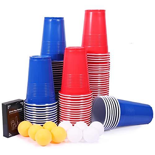 Party becher, joylink 100+10+Kartenspiel Beer Pong Becher Sets 480ml Beer Pong Party Becher Set mit Bällen Plastikbecher Rot und Blau, Lustige Trinkspiele, Partybecher Trinkspiel Sets für Festivals
