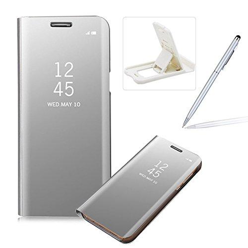 Coque Galaxy A8 2018 Clapet,Herzzer Housse Étui en PU Cuir Luxe Placage Technologie avec Transparente Miroir Design Dur PC Backcover Protector Fonction Stand pour Samsung A8 (2018)/ A5 (2018)- Argent