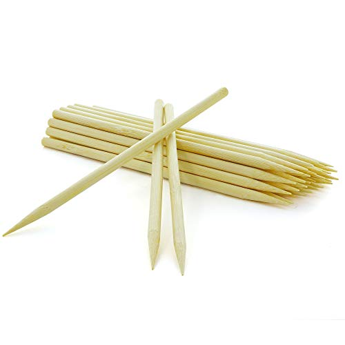 RamPro 6quot Inch Long Bamboo Sticks Disposable Heavy Duty Eco Friendly Apple Sticks for Caramel Candy Corn Dog Hotdog Sausage Skewers 120 Per Pack Pack of 4
