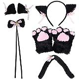 TUANTUAN 5 Pcs/Set Cat Cosplay Costume Accessories Kitten Ears Tail Collar Paws Hairpin Handband Costume for Lolita Women Girl Halloween Dress Up