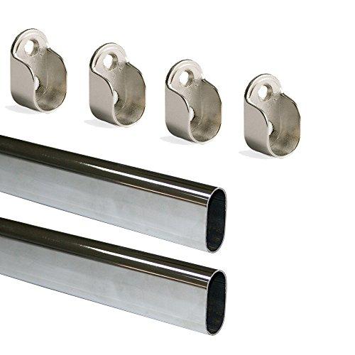 Emuca Kit di Asta Appendiabiti Ovale da Armadio 950 mm e Supporti, Cromato, Set di 2
