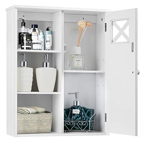 RELAX4LIFE Wandschrank aus Holz mit Luftloch, Hängeschrank mit 5 Regale & Tür, Badezimmerschrank...