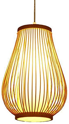 ZHANGL Araña del sudeste asiático Chandeler China Tradicional Lámpara Tejida a Mano Lámpara de Techo de Madera E27, lámpara de Techo de Madera Natural, Pantalla de pergamino