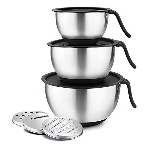 Camisin Juego de cuenco para mezclar con tapa, cuenco de mezcla, para cocina y cocinero, con mango largo, accesorio para rallador