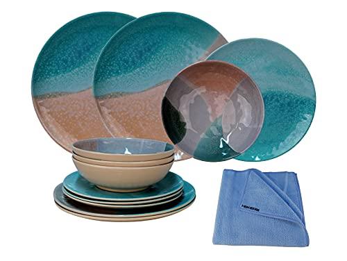 HEKERS Vajilla de 100% melamina Dunes turquesa/arena – Juego de 12 piezas para 4 personas / 1 x paño de microfibra Hekers azul exterior, picnic, camping, apto para lavavajillas