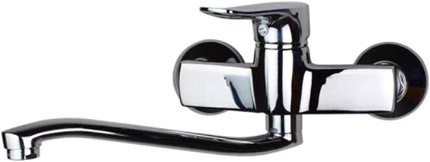 Faucet Waste Mono Spoutbathroom Wall Kitchen Copper Hot and Cold Water Single Washbasin Double-Hole Sink Thickening