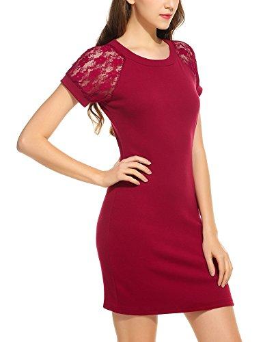 trudge Damen Elegant Etuikleid Minikleider Bleistiftkleid Shirtkleid Kurzarm Rundhals Kleid mit Spitzen Weinrot