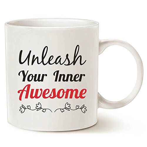 MAUAG Inspirational Mug - Unleash Inner Awesome Funny Quote Ceramic Coffee Cup White, 14 Oz