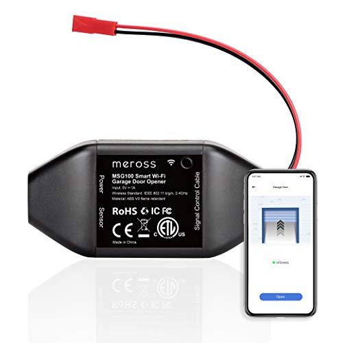 meross Smart Garage Door Opener Remote, APP Control, Compatible with Alexa, Google Assistant and IFTTT, No Hub Needed-Black