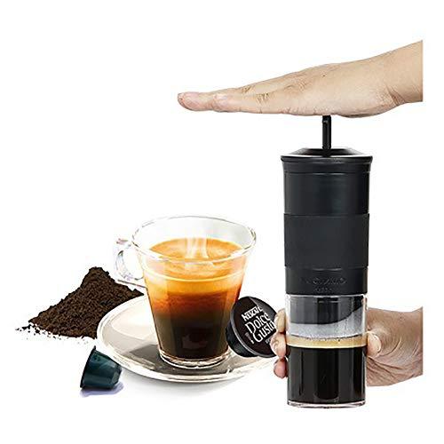 LIGHT Machine à Espresso Portable | Capsule Nespresso et café moulu compatibles | Flacon Manuel pour Machine à café de Voyage |