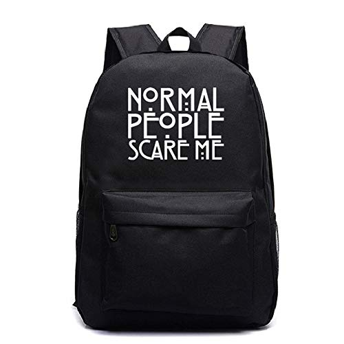 Serie de televisión Americana Superventas American Horror Story Mochila Estudiante Mochila Escolar Luminosa-Patrón Negro 2_Talla única