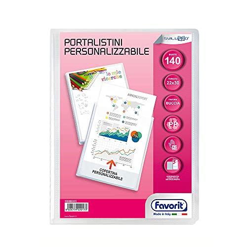 Favorit Portalistino Personalizzabile 140 Buste, 22 x 30 cm, Trasparente