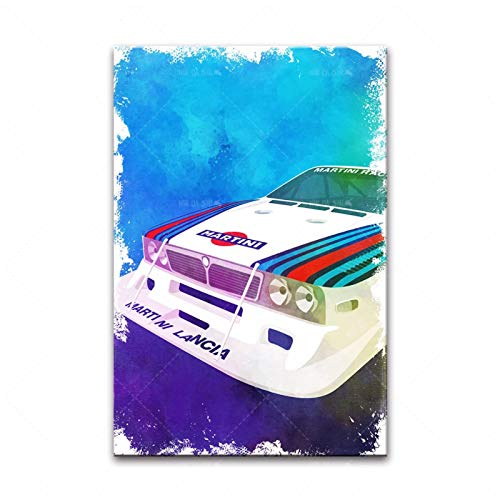 Qqwiter Lancia Rally Car F1 LC2 Poster Astratto Tela Pittura Stampa Wall Art Picture for Living Room Home Decor -50x70cm No Frame