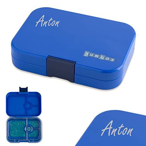 Anton & Sophie YUMBOX Panino (mit 4 Fächern) - PERSONALISIERBAR - Brotbox/Lunchbox/Bento Box mit Fester Fächer-Unterteilung - auslaufsichere Brotdose für Schule - ideal zur Einschulung (Neptune Blue)